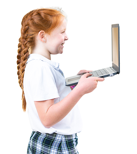 girl holding a computer